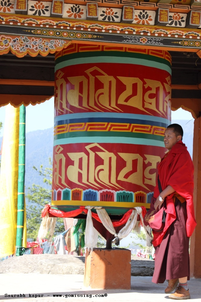 Monk and Prayer wheel