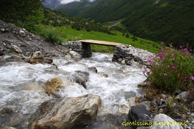 Crossing bridges over glacial streams - Valley of flowers, Uttarakhand