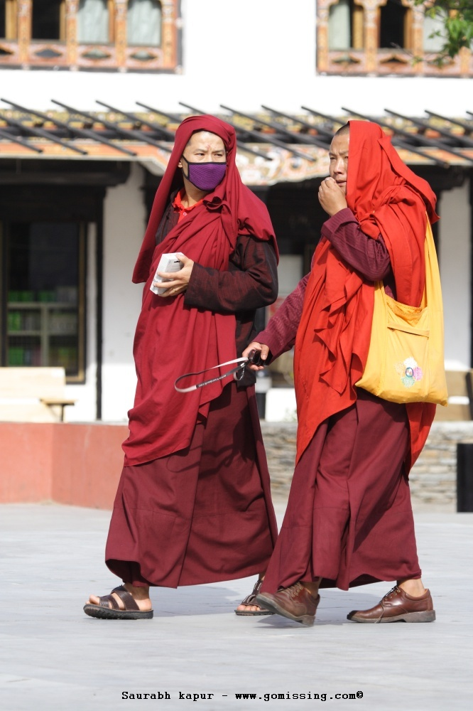Monks wearing face mask (protection against bird flu)