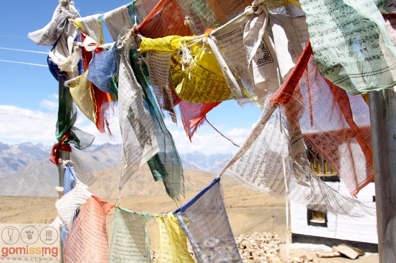 Prayer flags at Komic village
