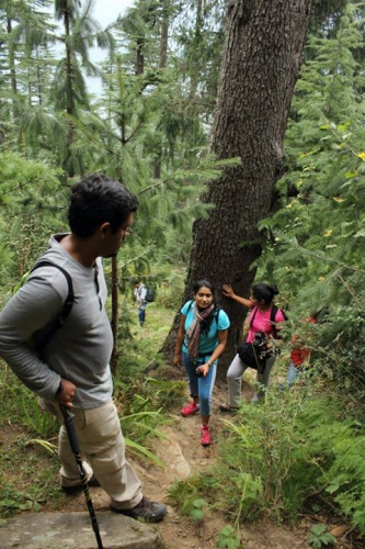 trekking through forests to Lama Dug meadows