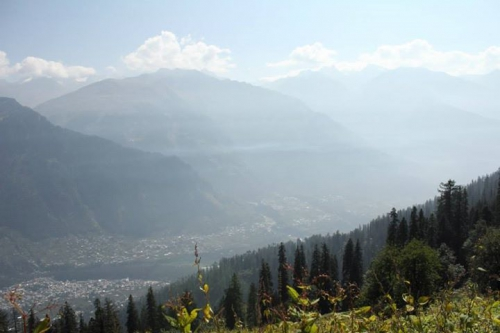 View of Manali from the trek route