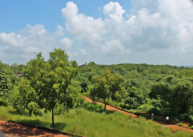 The blue skies and lush green cover at Fort Aguada