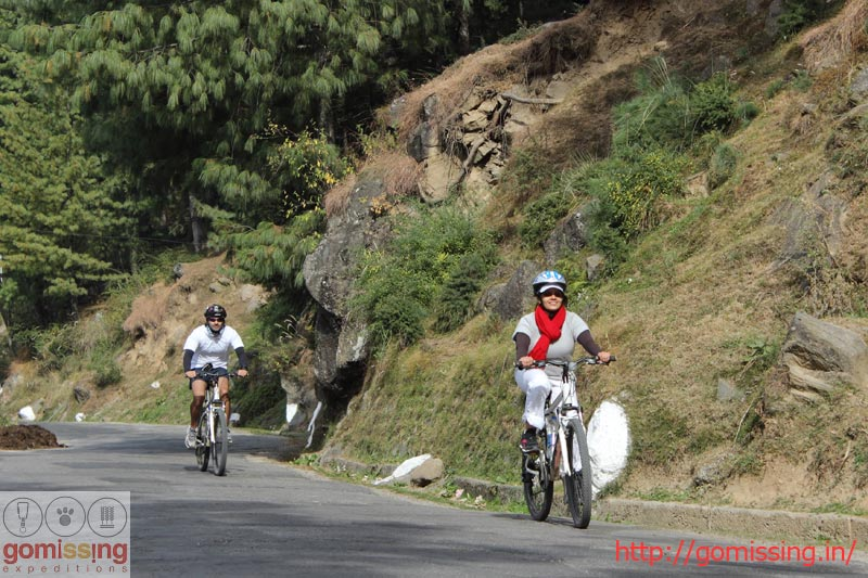 Cyling to Naggar from Manali