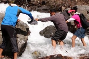 River Crossing at Hamta Circle Trek