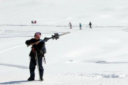 Skiing training at Gulmarg