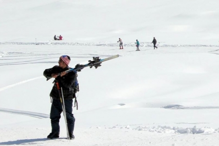 Skiing training at Gulmarg