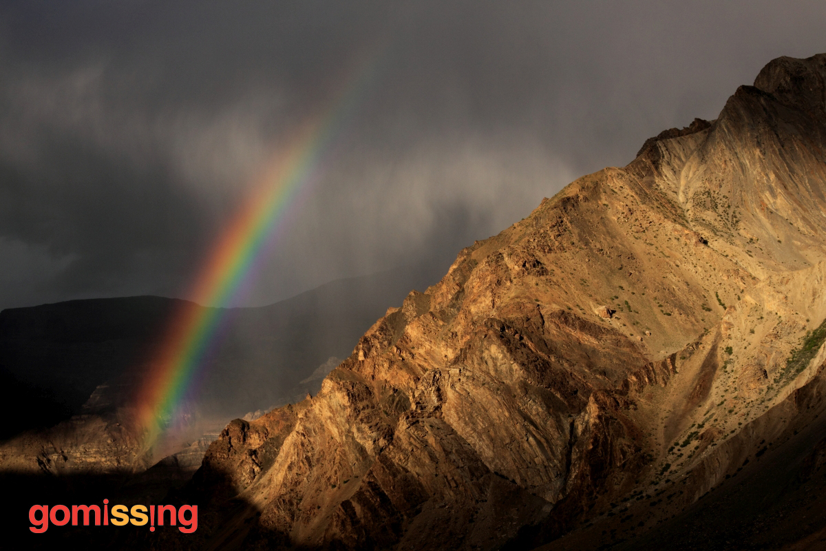 Rainbow seen while driving through Spiti
