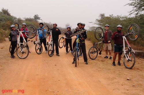 HKS team cycling on the Bhardwaj lake trail