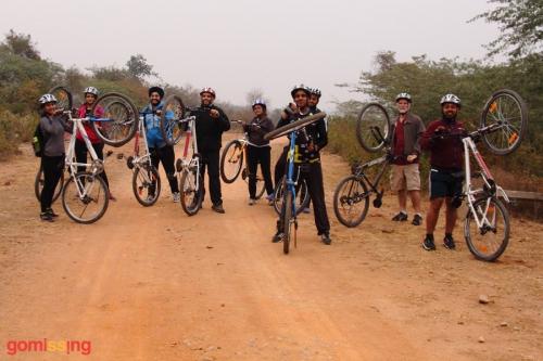 HKS team cycling on the Bhardwaj lake trail