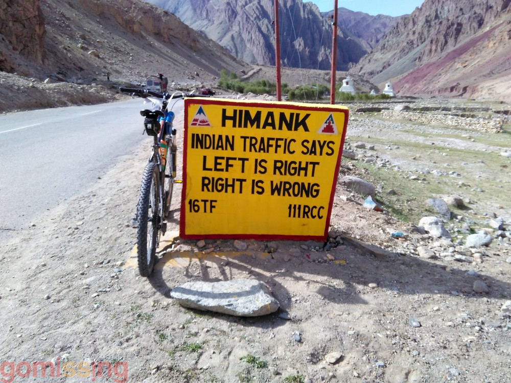 Himank Road Sign, Left is Right, Right is wrong