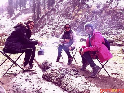 camping amidst snow