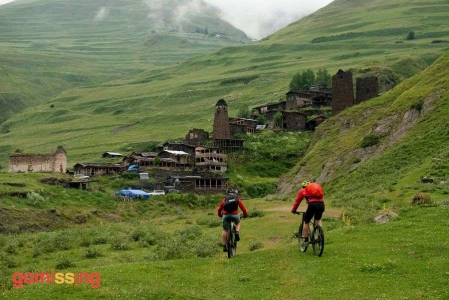 Cycling in the Caucasus mountains