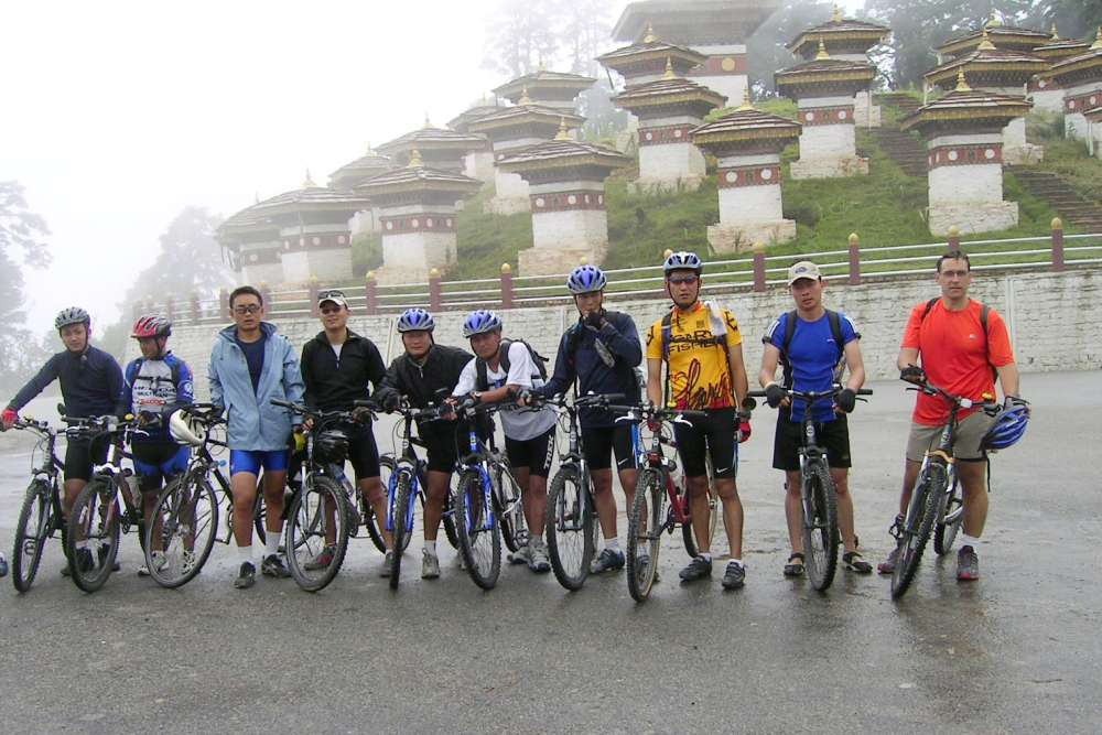 bhutan cycling trip - at Dochu la pass