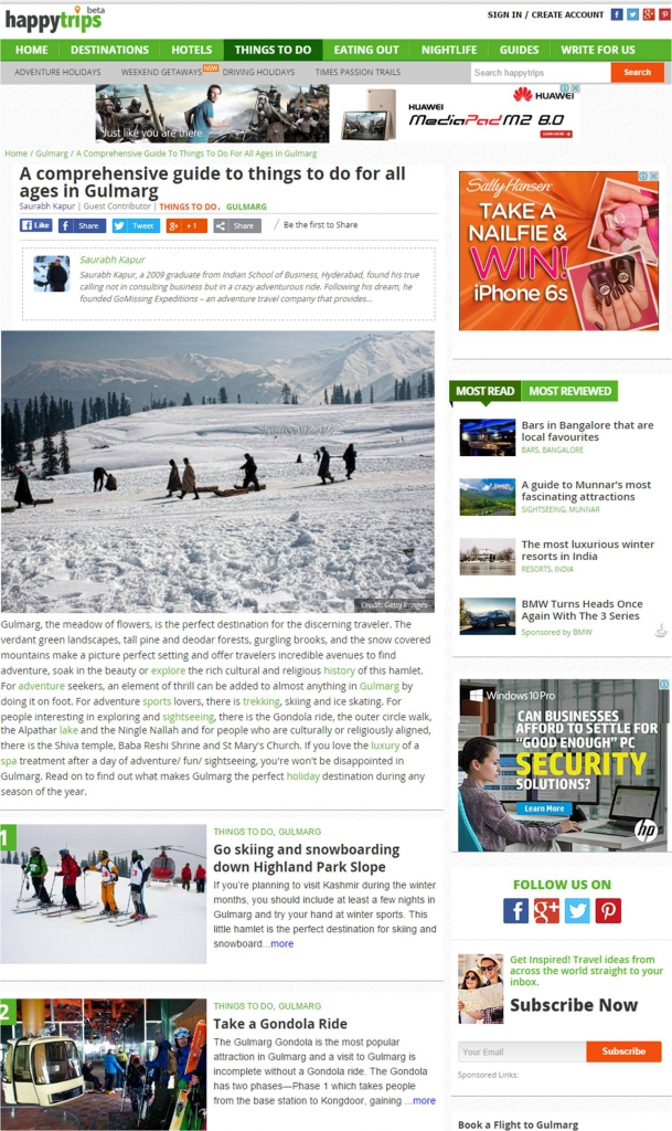 Gulmarg Things to do