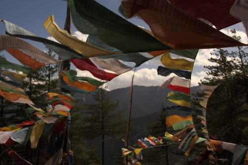 Prayer Flags on the trek to Tigers Nest, paro valley, bhutan