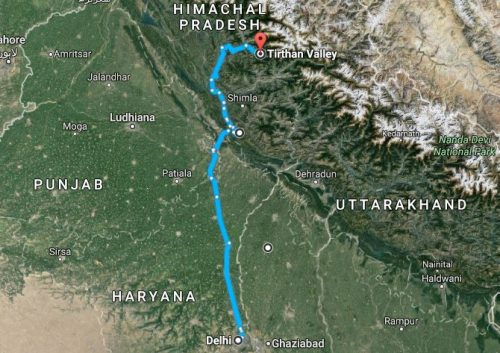 Delhi to Tirthan Map