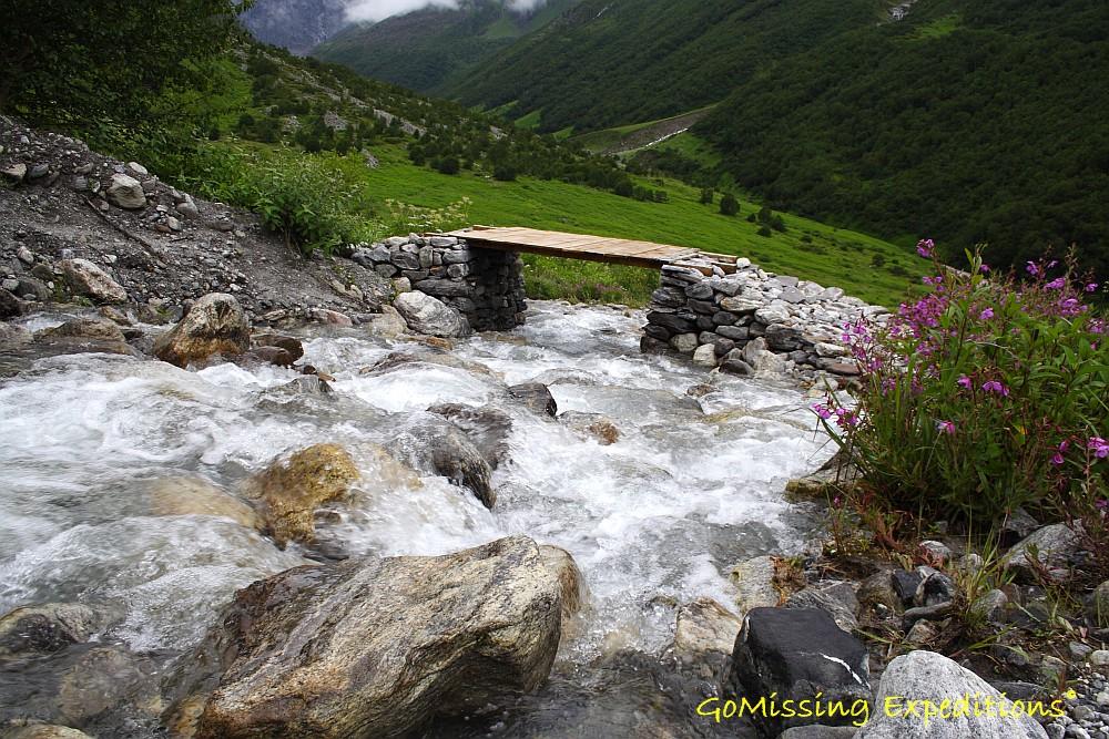 Crossing bridges over glacial streams - Valley of flowers, Uttarakhand